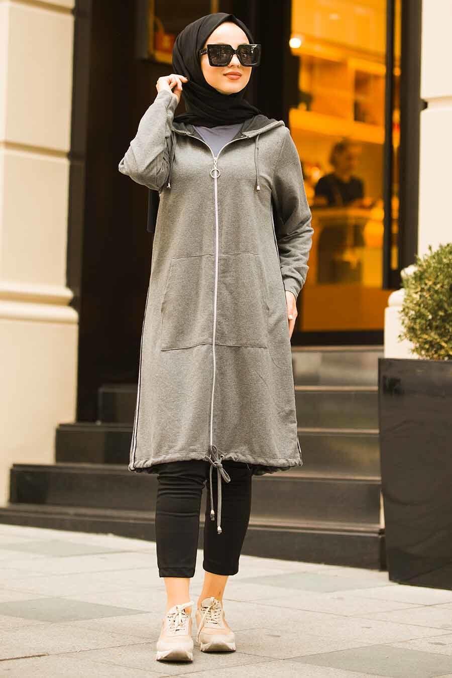 Neva Style - Smoked Hijab Coat 6029FU