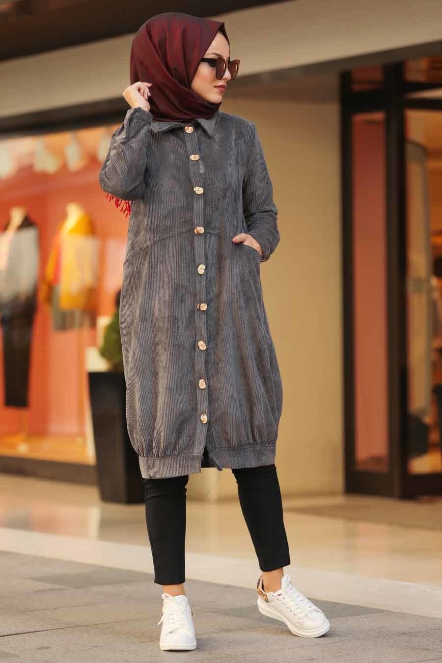 Neva Style - Smoked Hijab Velvet Coat 9075FU