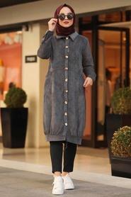 Neva Style - Smoked Hijab Velvet Coat 9075FU - Thumbnail