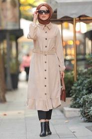 Neva Style - Stone Velvet Coat 12045TAS - Thumbnail