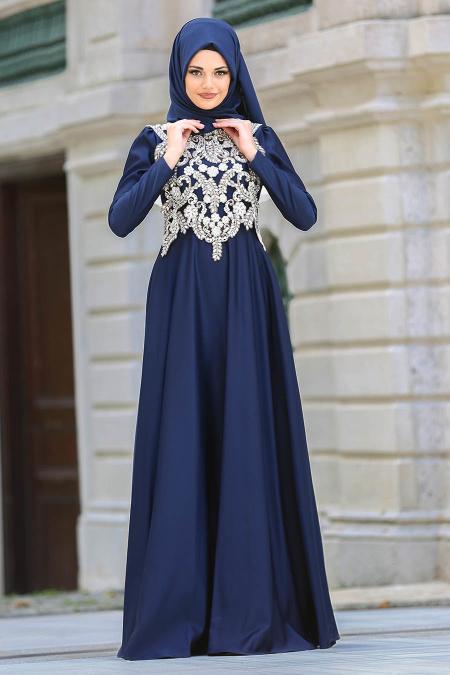 Neva Style - Taşlı Lacivert Tesettür Abiye Elbise 3589L