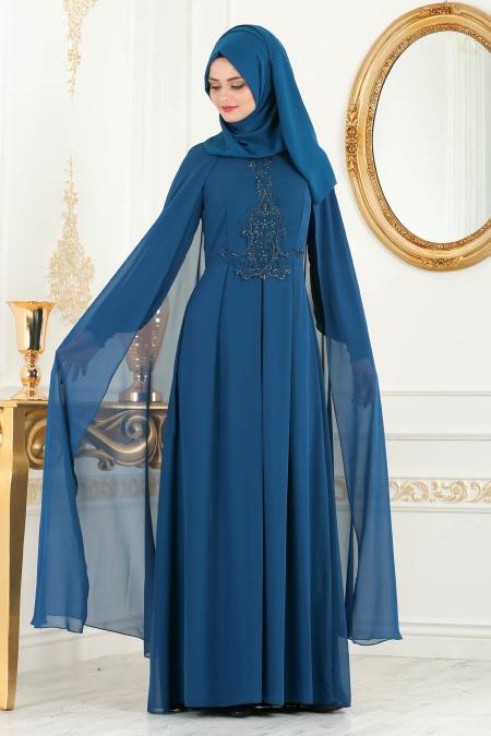 Neva Style - Taşlı Petrol Mavisi Tesettür Abiye Elbise 25617PM
