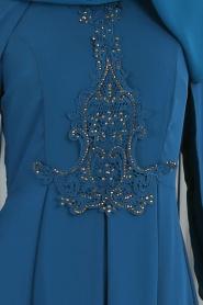 Neva Style - Taşlı Petrol Mavisi Tesettür Abiye Elbise 25617PM - Thumbnail