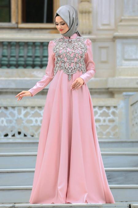 Neva Style - Taşlı Pudra Tesettür Abiye Elbise 3589PD