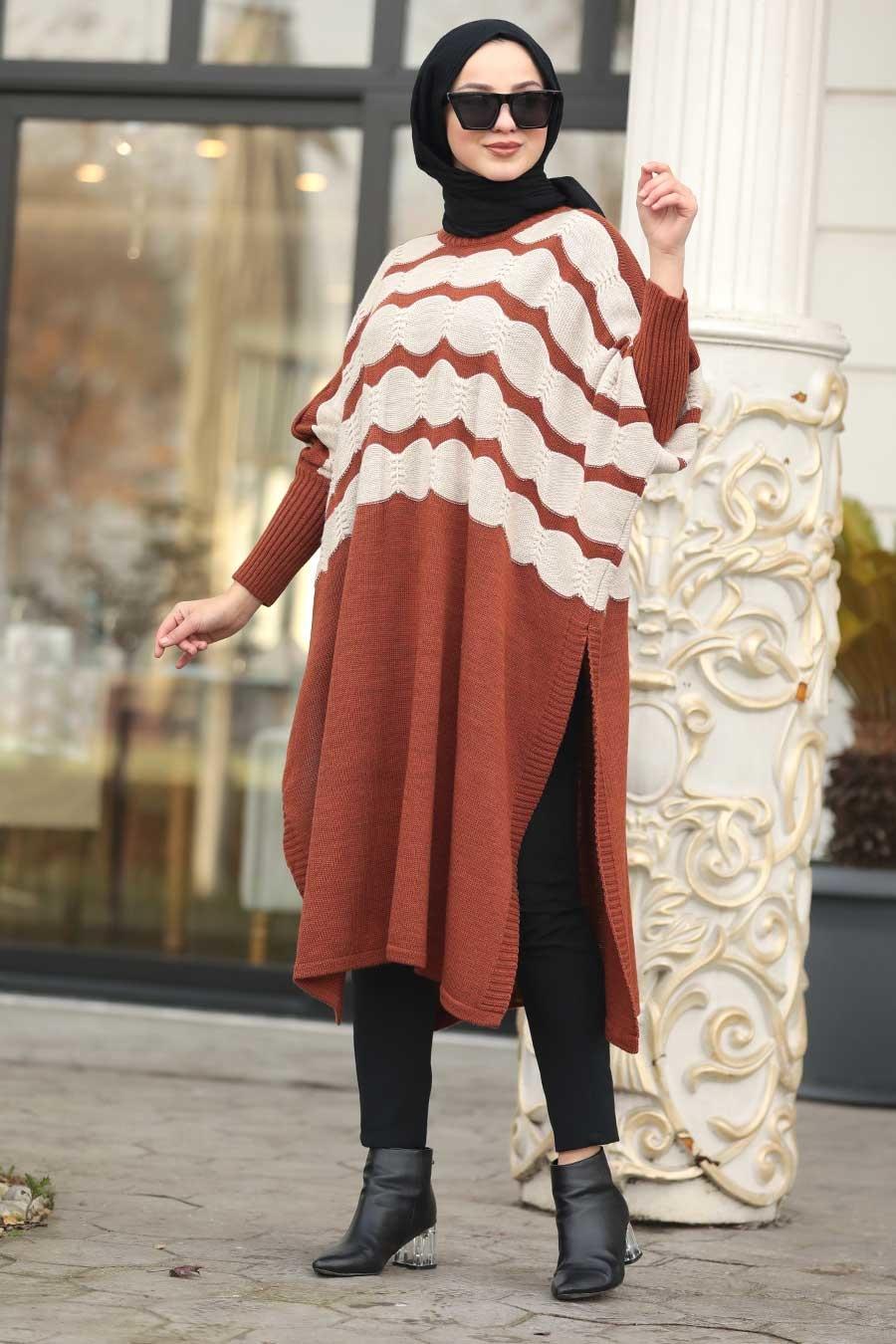 Neva Style - Terra Cotta Hijab knitwear poncho 15653KRMT