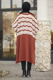 Neva Style - Terra Cotta Hijab knitwear poncho 15653KRMT - Thumbnail