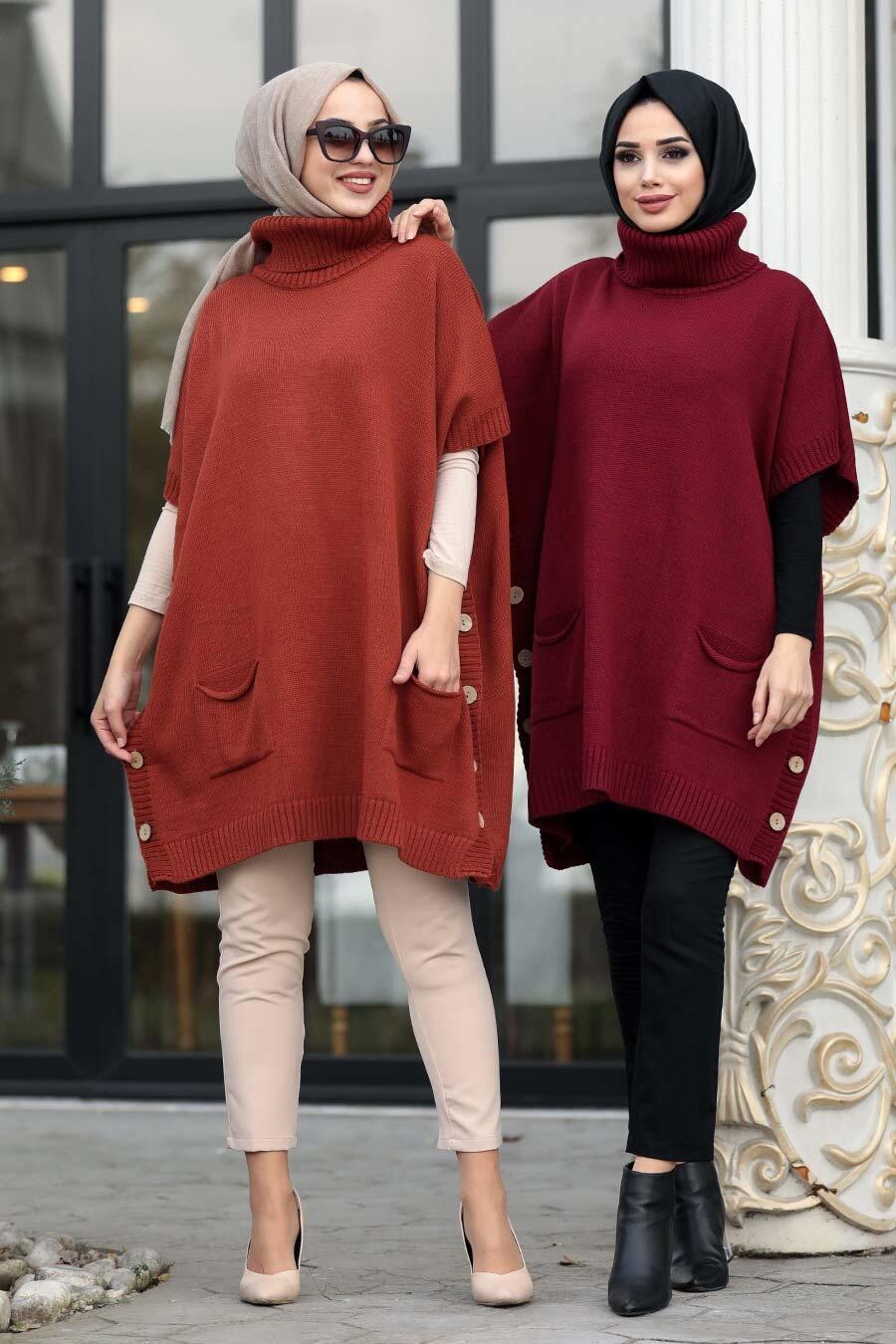 Neva Style -Terra Cotta Hijab knitwear poncho 19763KRMT