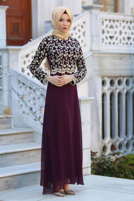 Neva Style - Üzeri Dantelli Mürdüm Tesettür Elbise 52495MU