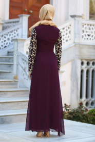 Neva Style - Üzeri Dantelli Mürdüm Tesettür Elbise 52495MU - Thumbnail
