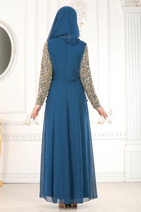 Neva Style - Üzeri Dantelli Petrol Mavisi Tesettür Abiye Elbise 25660PM