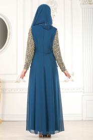 Neva Style - Üzeri Dantelli Petrol Mavisi Tesettür Abiye Elbise 25660PM - Thumbnail