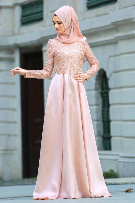 Neva Style - Üzeri Dantelli Somon Tesettür Abiye Elbise 3542SMN