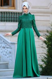 Neva Style - Üzeri Dantelli Yeşil Tesettür Abiye Elbise 3542Y - Thumbnail