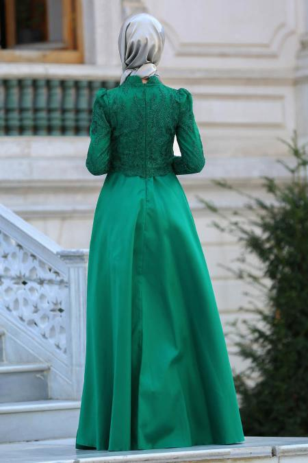 Neva Style - Üzeri Dantelli Yeşil Tesettür Abiye Elbise 3542Y