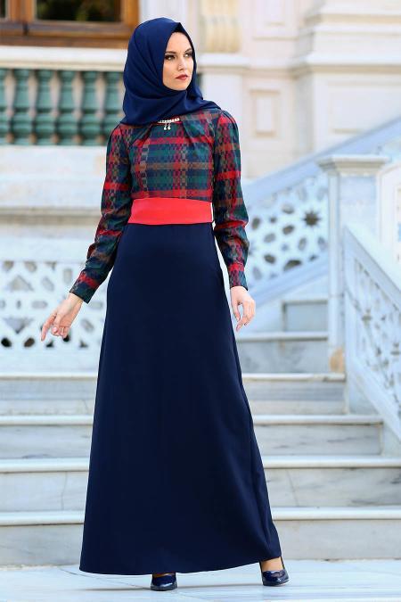 Neva Style - Üzeri Desenli Kırmızı Tesettür Elbise 2119K