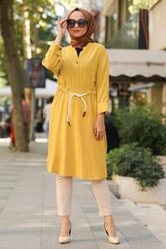 Neva Style - V Yaka Hardal Tesettür Tunik 1567HR - Thumbnail
