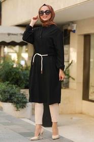 Neva Style - V Yaka Siyah Tesettür Tunik 1567S - Thumbnail