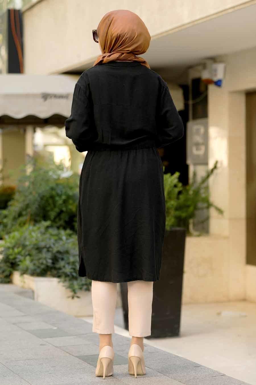 Neva Style - V Yaka Siyah Tesettür Tunik 1567S