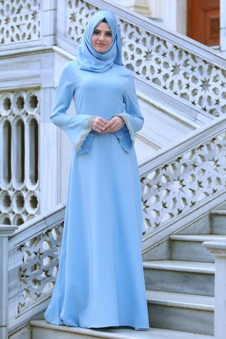 Neva Style - Volan Kol Dantel Detaylı Bebek Mavisi Tesettür Abiye Elbise 52594BM