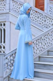 Neva Style - Volan Kol Dantel Detaylı Bebek Mavisi Tesettür Abiye Elbise 52594BM - Thumbnail