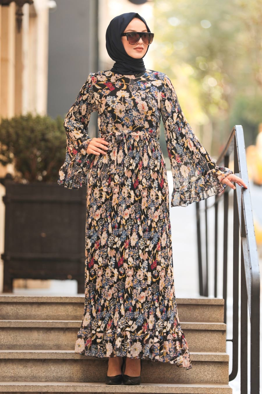 Neva Style - Volan Kol Desenli Siyah Tesettür Elbise 2381S