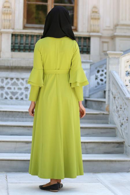 Neva Style - Volan Kol Düğmeli Fıstık Yeşili Tesettür Elbise 52360FY