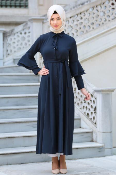 Neva Style - Volan Kol Düğmeli Lacivert Tesettür Elbise 52360L