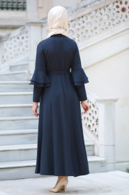 Neva Style - Volan Kol Düğmeli Lacivert Tesettür Elbise 52360L - Thumbnail