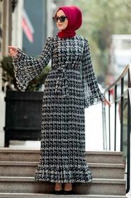 Neva Style - Volan Kol Siyah Tesettür Elbise 23812S - Thumbnail