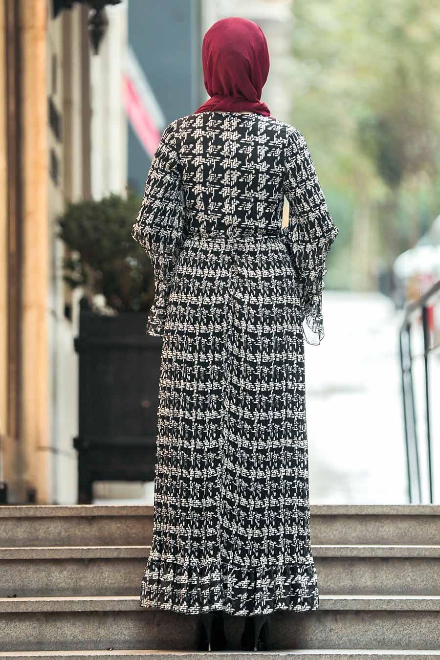 Neva Style - Volan Kol Siyah Tesettür Elbise 23812S