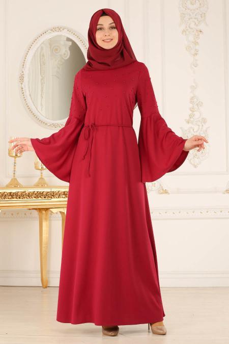 Neva Style - Volan Kollu Boncuk Detaylı Vişne Tesettür Elbise 100116VSN