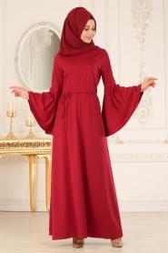 Neva Style - Volan Kollu Boncuk Detaylı Vişne Tesettür Elbise 100116VSN - Thumbnail