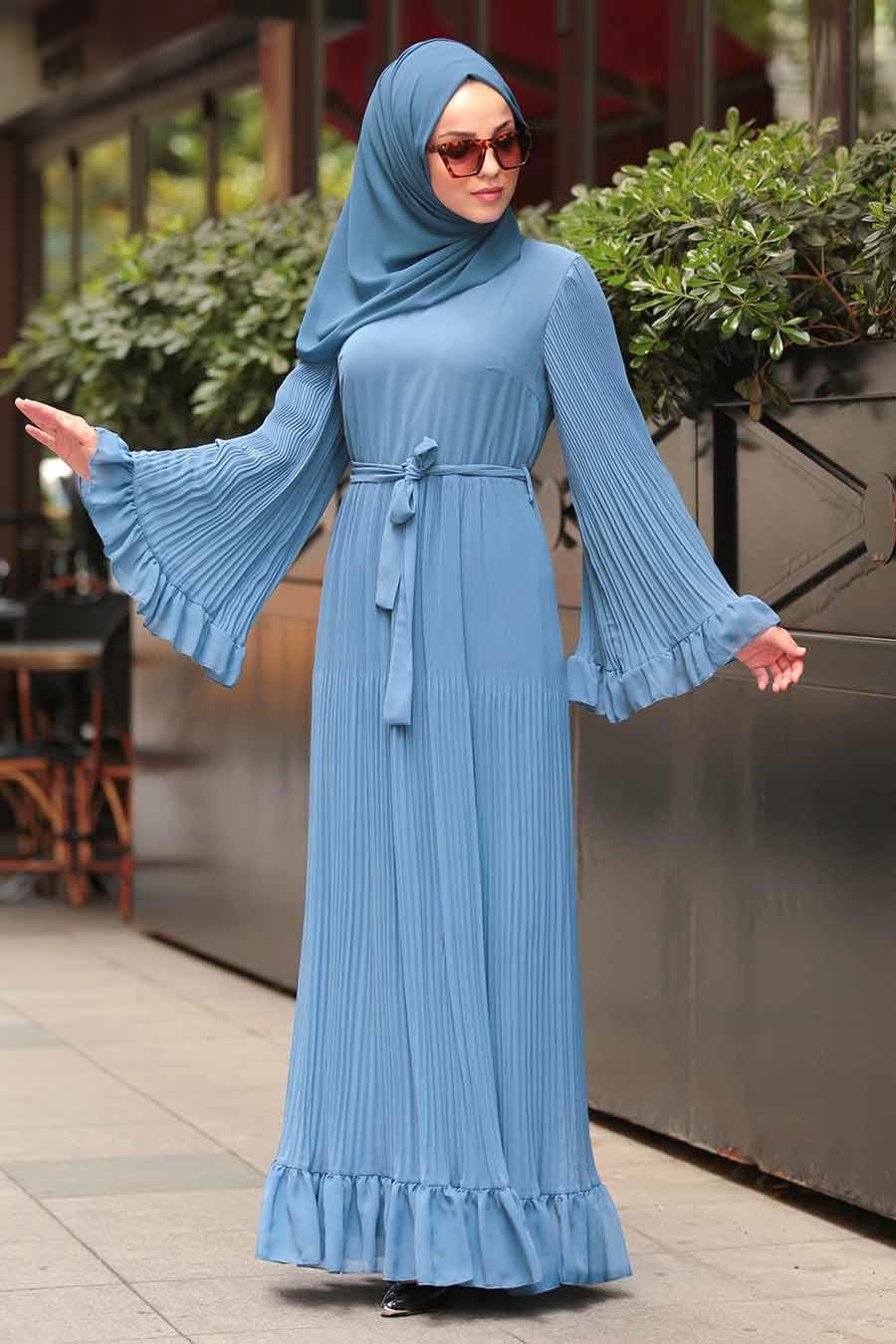Neva Style - Volan Kollu Mavi Tesettür Elbise 1310M