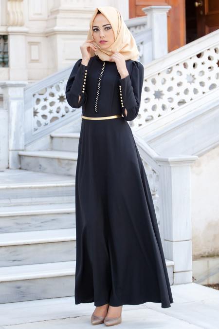 Neva Style - Yakası Boncuk Detaylı Siyah Elbise