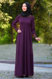 Neva Style - Yakası Dantel İşlemeli Mor Tesettür Elbise 40930MOR - Thumbnail