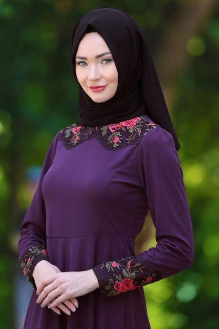 Neva Style - Yakası Dantel İşlemeli Mor Tesettür Elbise 40930MOR