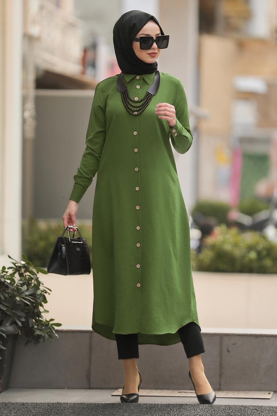 Neva Style - Yakası Düğmeli Fıstık Yeşili Tesettür Tunik 474FY