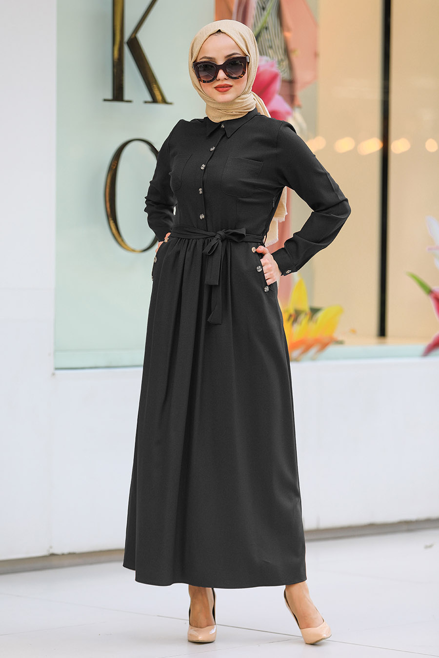 Neva Style - Yakası Düğmeli Siyah Tesettür Elbise 462S
