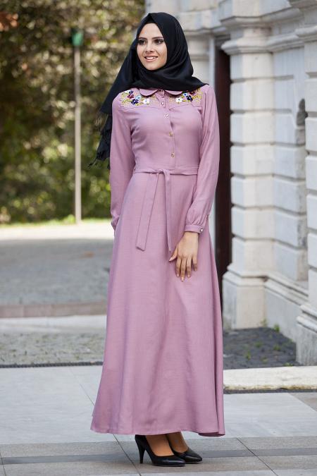 Neva Style - Yakası İşlemeli Gül Kurusu Elbise