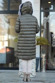 Neva Style - Yakası Kürklü Haki Tesettür Şişme Mont 2512HK - Thumbnail