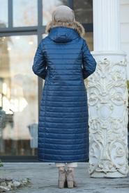 Neva Style - Yakası Kürklü Lacivert Tesettür Şişme Mont 10650L - Thumbnail