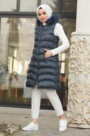 Neva Style - Yakası Kürklü Lacivert Tesettür Şişme Yelek 1509L - Thumbnail