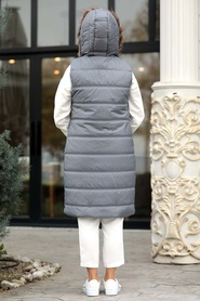 Neva Style - Yakası Kürklü Şişme Gri Yelek 50880GR - Thumbnail