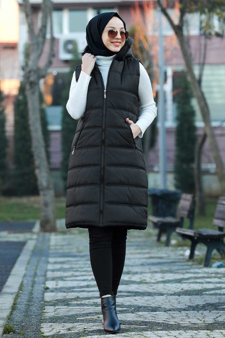 Neva Style - Yakası Kürklü Şişme Siyah Yelek 50880S