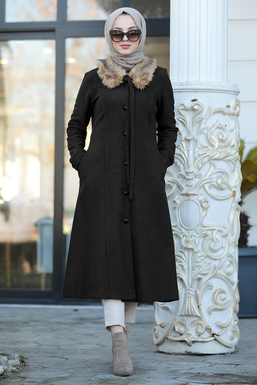 Neva Style - Yakası Kürklü Siyah Tesettür Kap 50840S