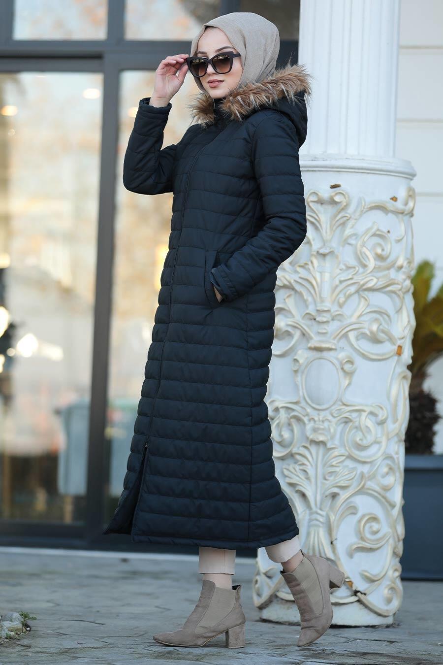 Neva Style - Yakası Kürklü Siyah Tesettür Şişme Mont 20131S