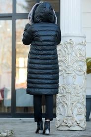 Neva Style - Yakası Kürklü Siyah Tesettür Şişme Mont 2512S - Thumbnail