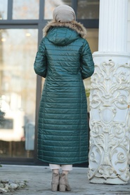 Neva Style - Yakası Kürklü Yeşil Tesettür Şişme Mont 10650Y - Thumbnail