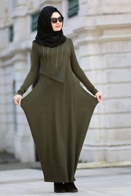 Neva Style - Yakası Taşlı Haki Tesettür Elbise 3116HK