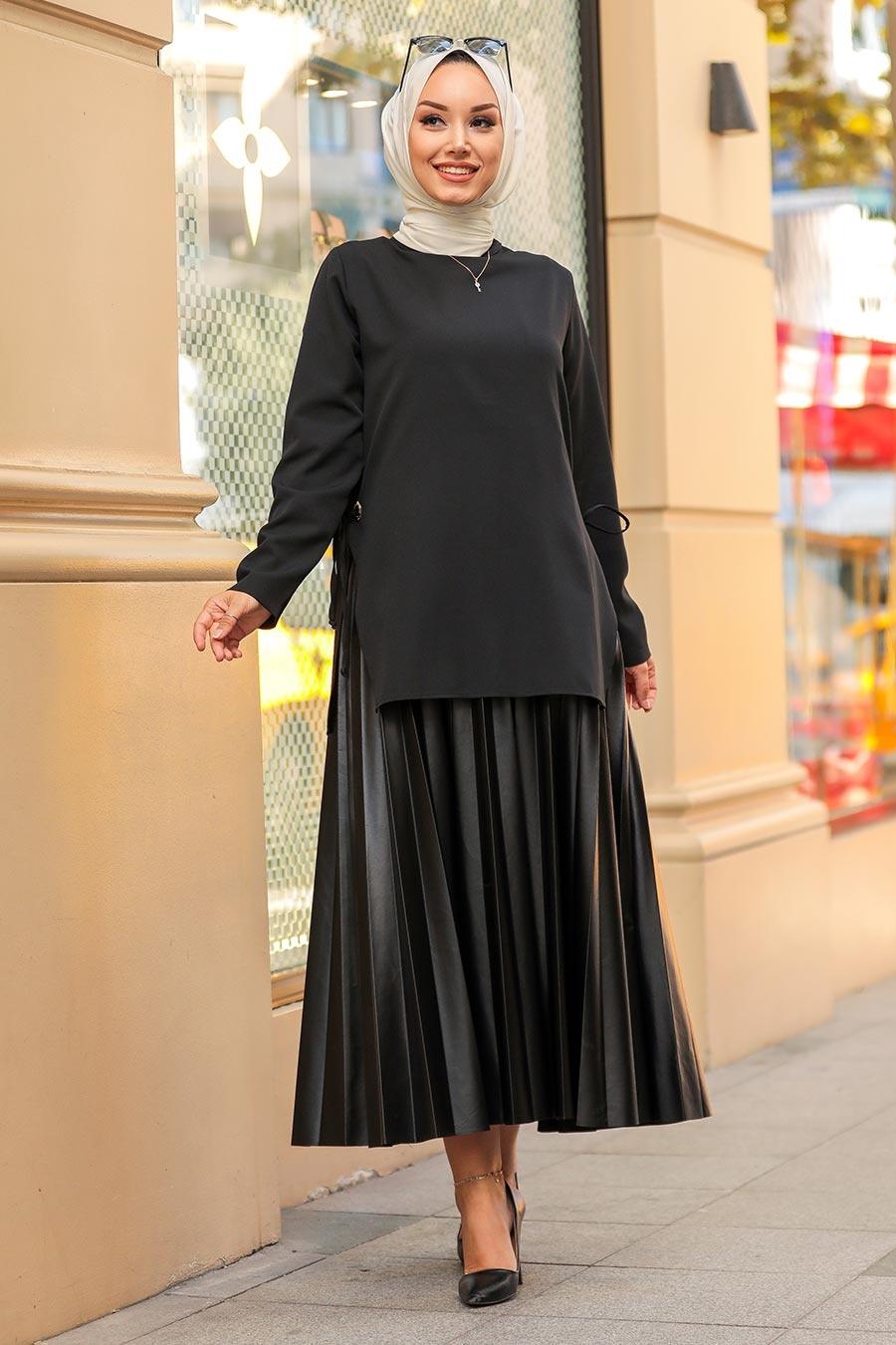 Neva Style - Yandan Bağcıklı Siyah Tesettür İkili Takım 1298S